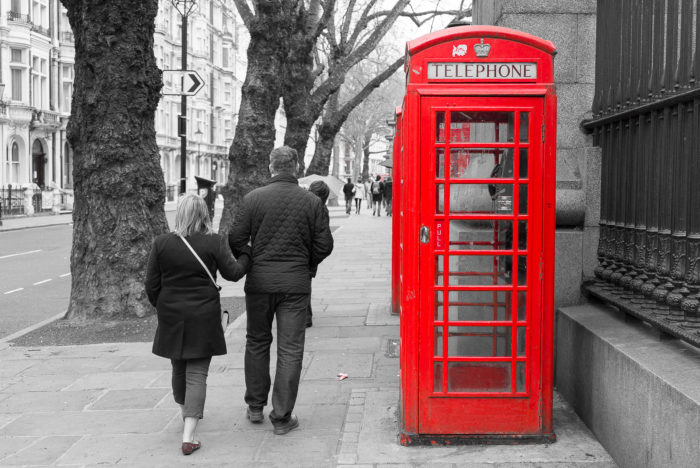 London Phone Booth Black and White Color