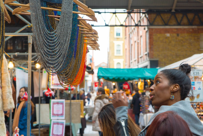 Woman Shopping for Jewelry at Old Spitalfields Market