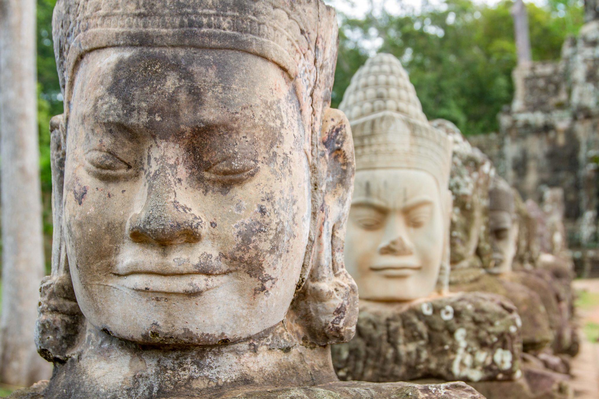 Bayon Heads Leading to Angkor Thom South Entrance Bridge Cambodia