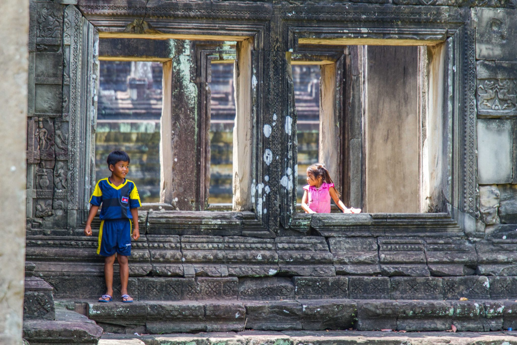 Cambodian Children Playing at Angkor Wat