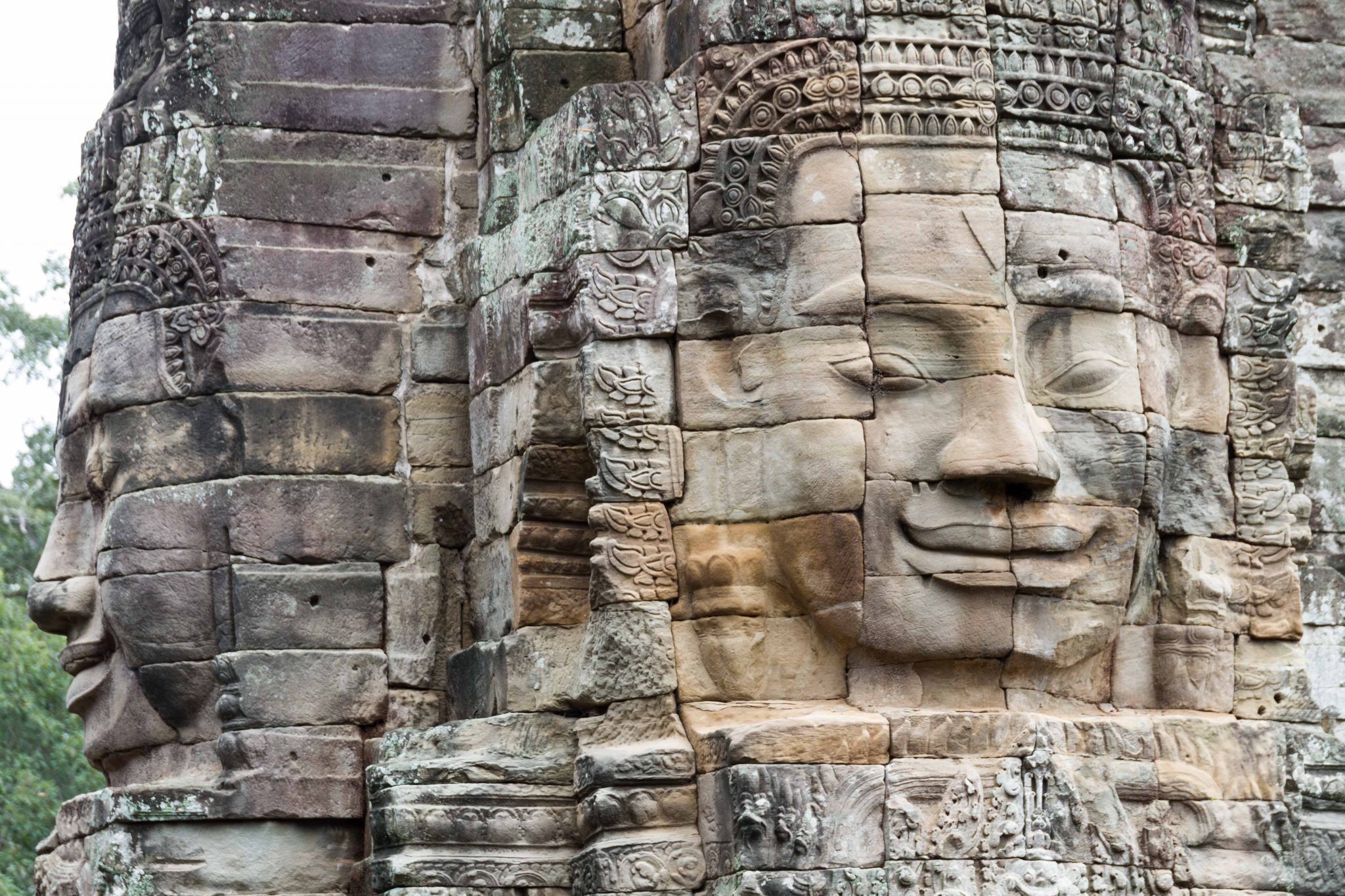 Faces at Bayon in Angkor Thom Angkor Wat Cambodia