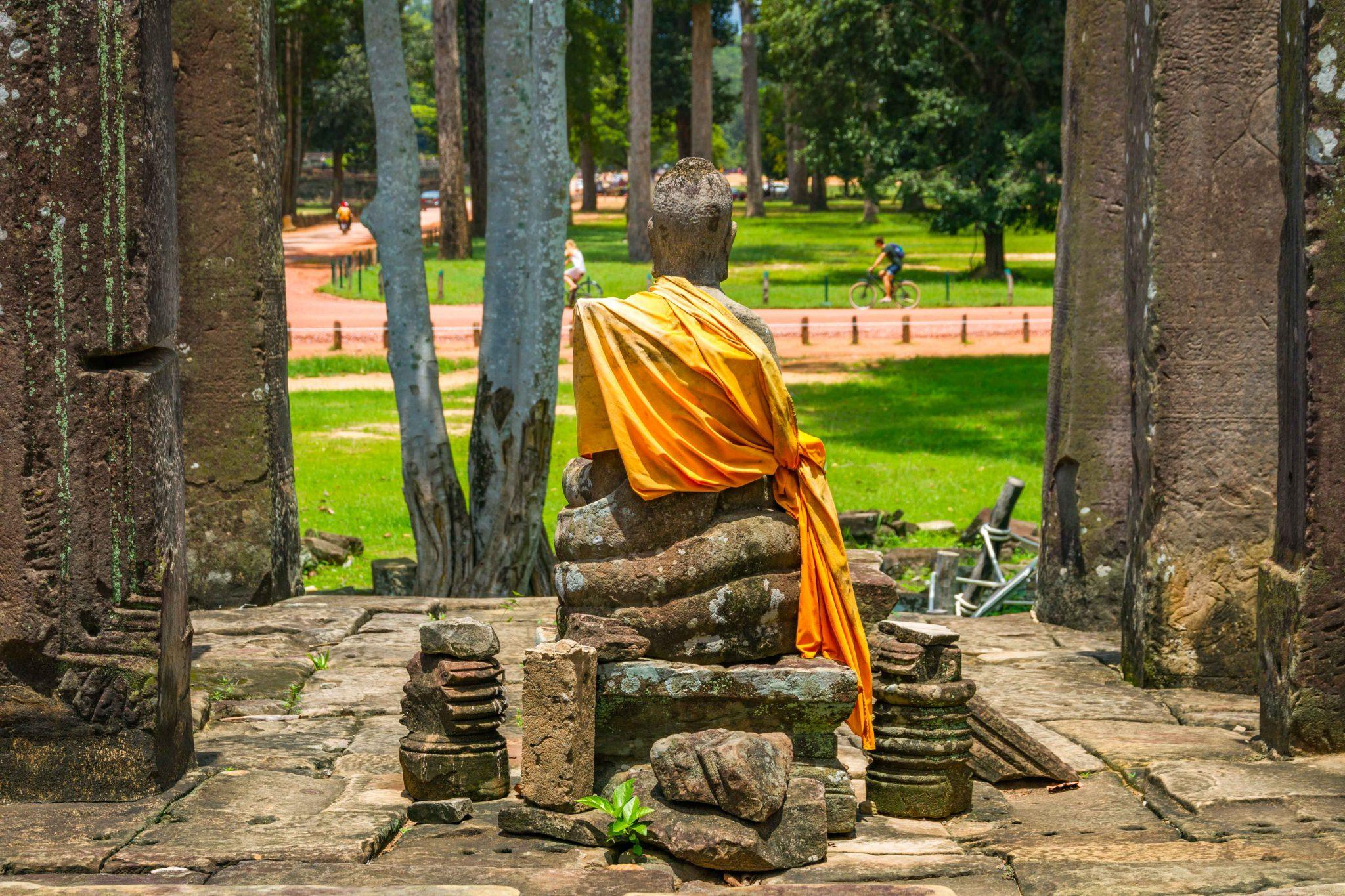 Monk Statue at Bayon Temple Angkor Thom Cambodia