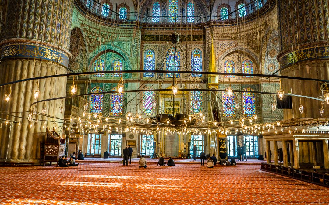 Istanbul's Beautiful Blue Mosque Interior During Prayer