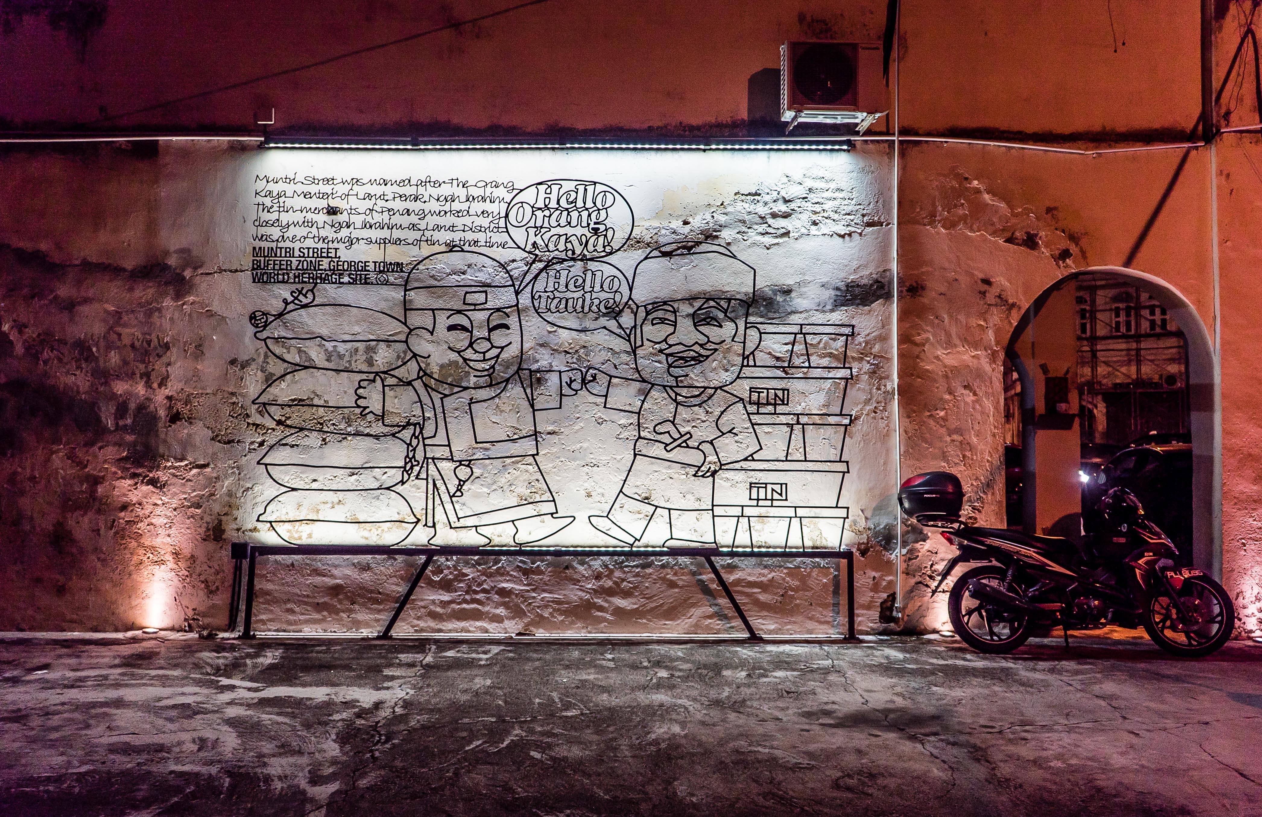 Iron Caricatures Night Street Art Tour Georgetown Penang