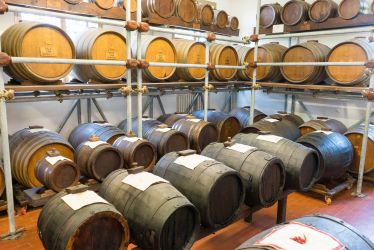Traditional balsamic vinegar aging in batteria Acetaia Villa San Donnino Modena